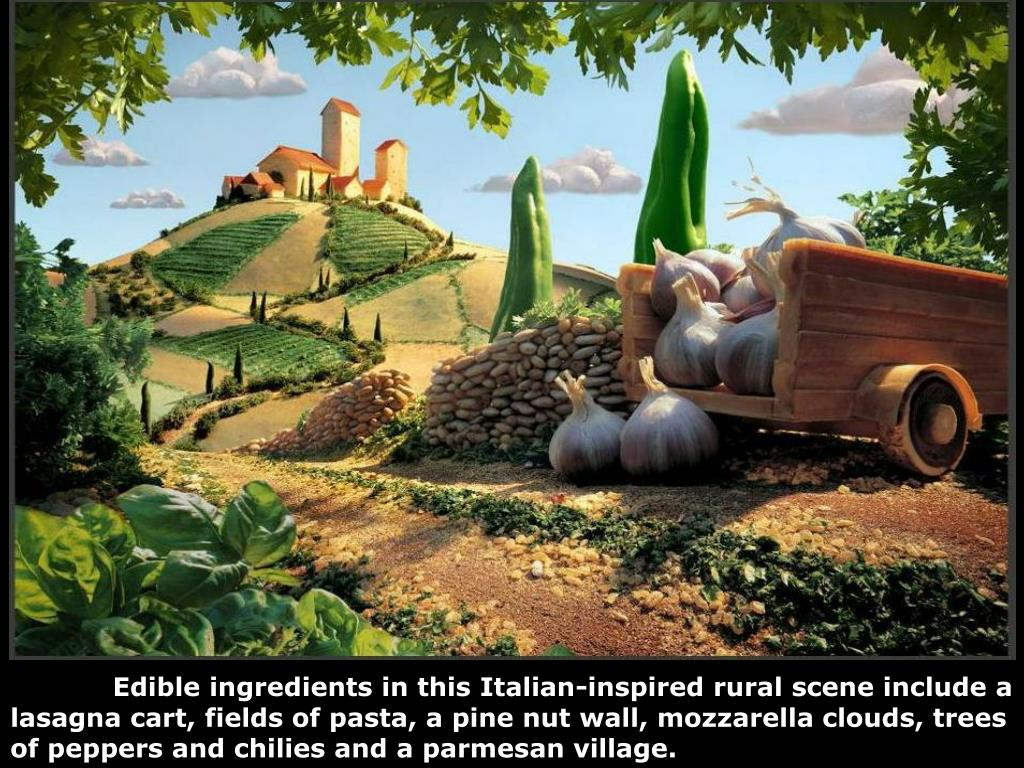 Edible ingredients in this Italian-inspired rural scene include a lasagna cart, fields of pasta, a pine nut wall, mozzarella clouds, trees of peppers and chilies and a parmesan village.