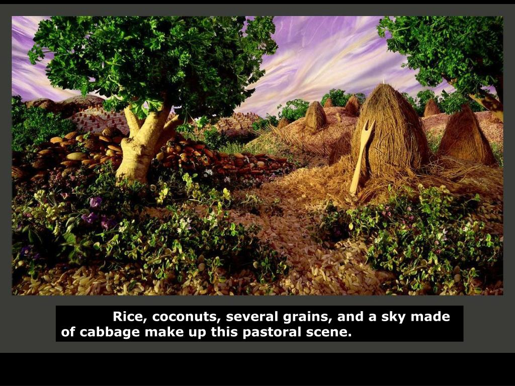Rice, coconuts, several grains, and a sky made of cabbage make up this pastoral scene.
