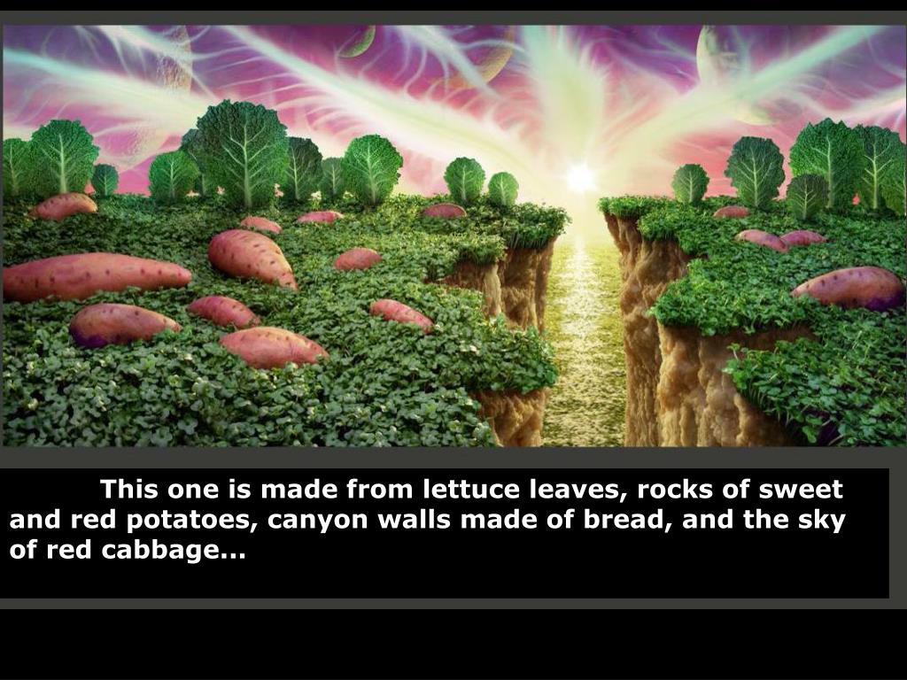 This one is made from lettuce leaves, rocks of sweet and red potatoes, canyon walls made of bread, and the sky of red cabbage...