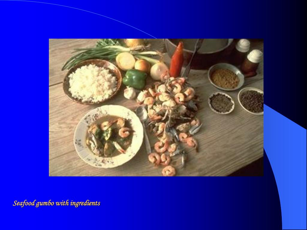 Seafood gumbo with ingredients