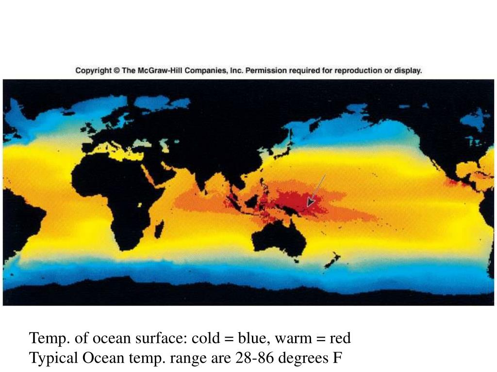 Temp. of ocean surface: cold = blue, warm = red