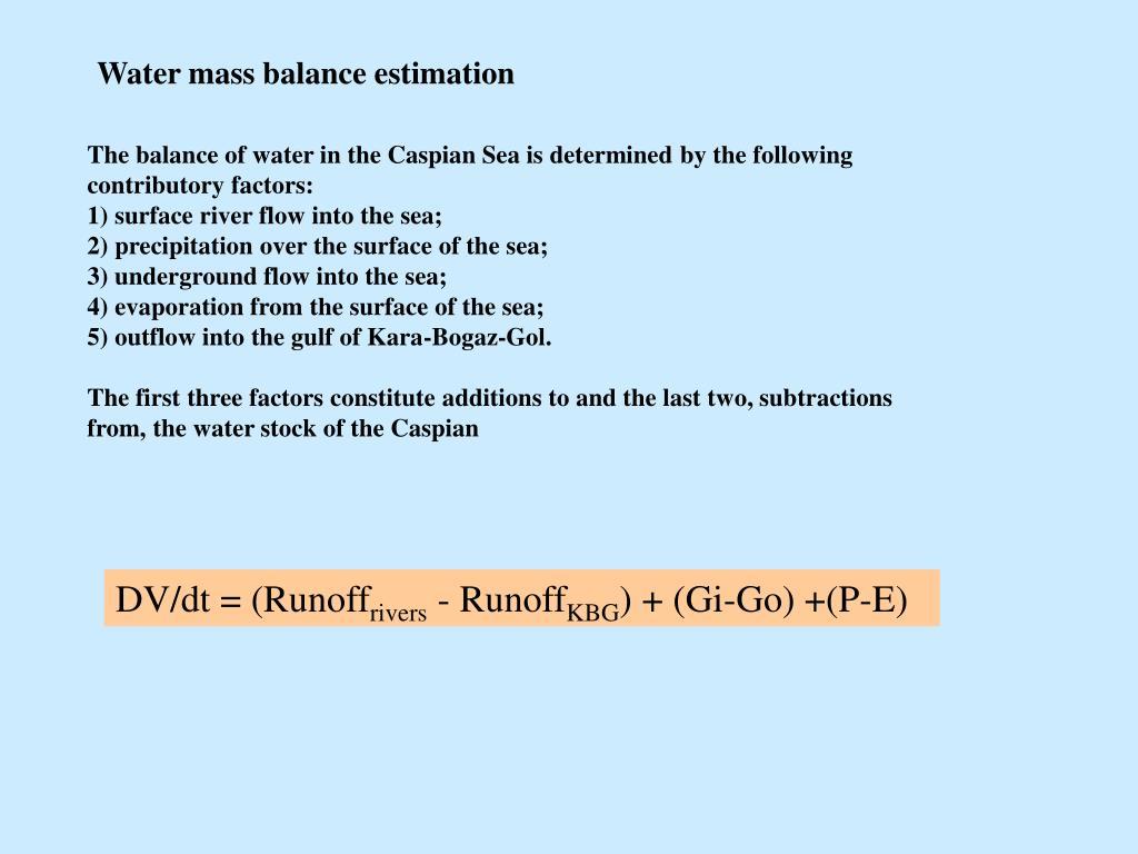 Water mass balance estimation