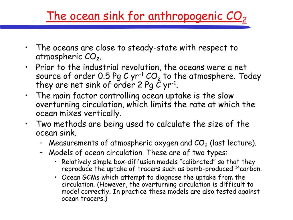 The ocean sink for anthropogenic CO