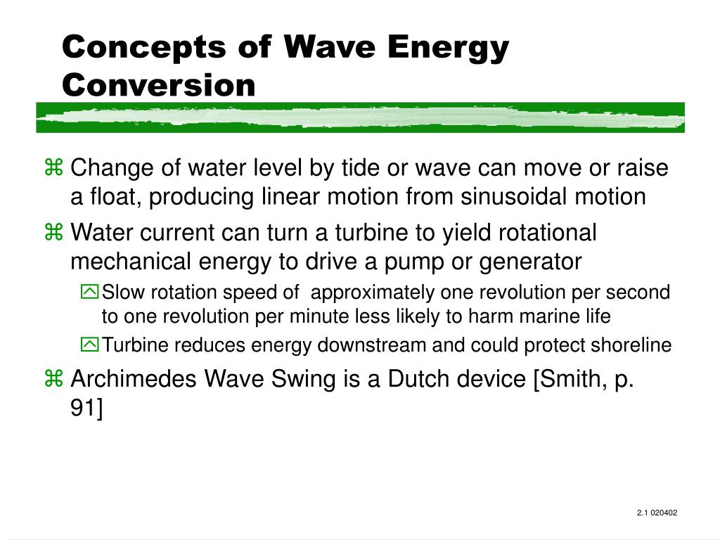 Concepts of Wave Energy Conversion