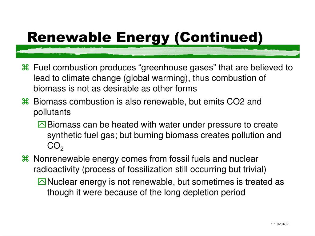 Renewable Energy (Continued)