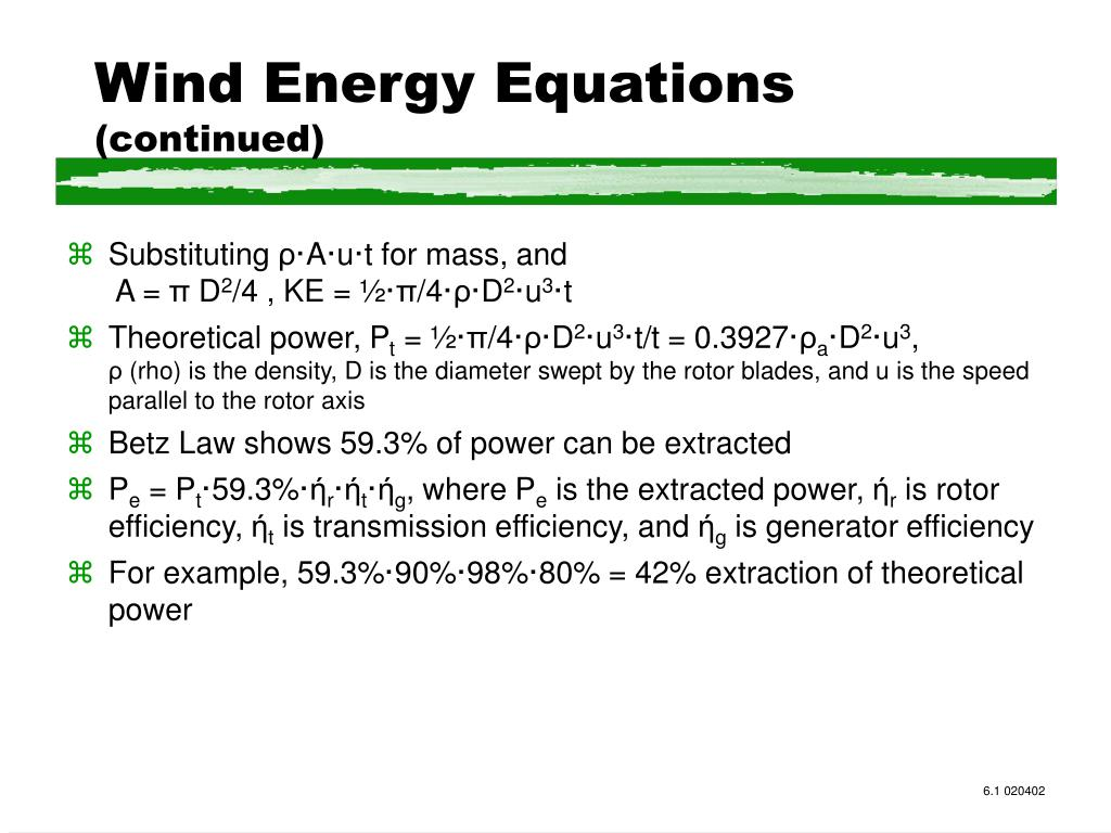 Wind Energy Equations