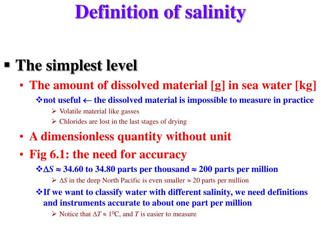 Definition of salinity