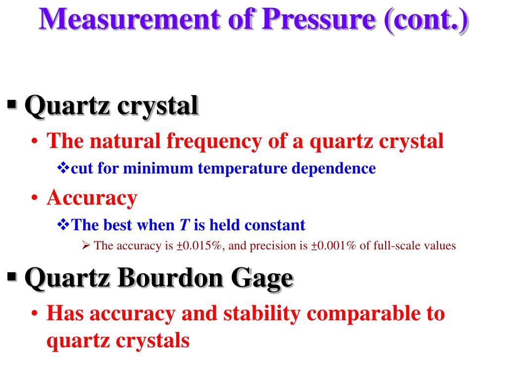 Measurement of Pressure (cont.)