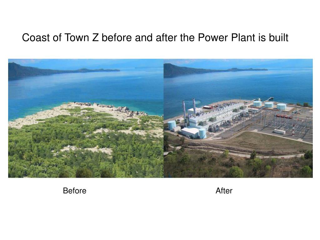 Coast of Town Z before and after the Power Plant is built
