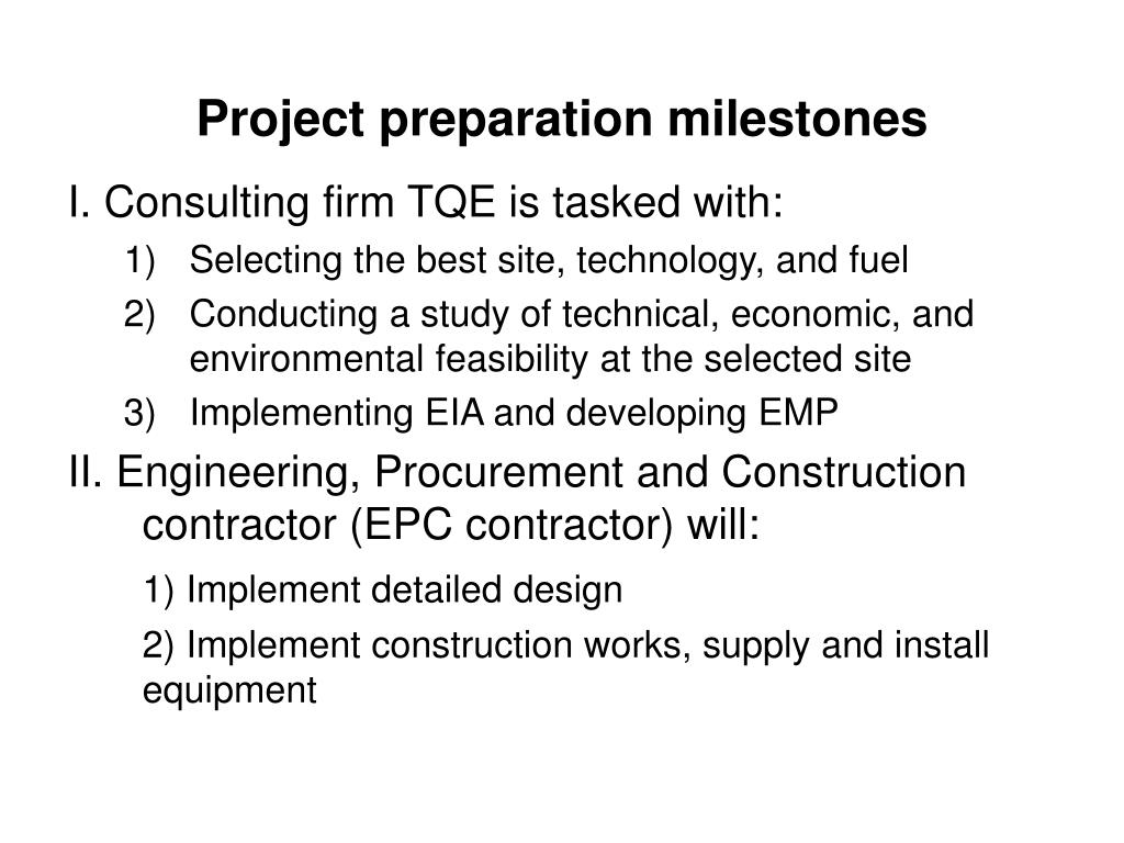 Project preparation milestones