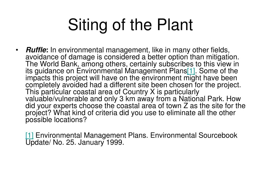 Siting of the Plant
