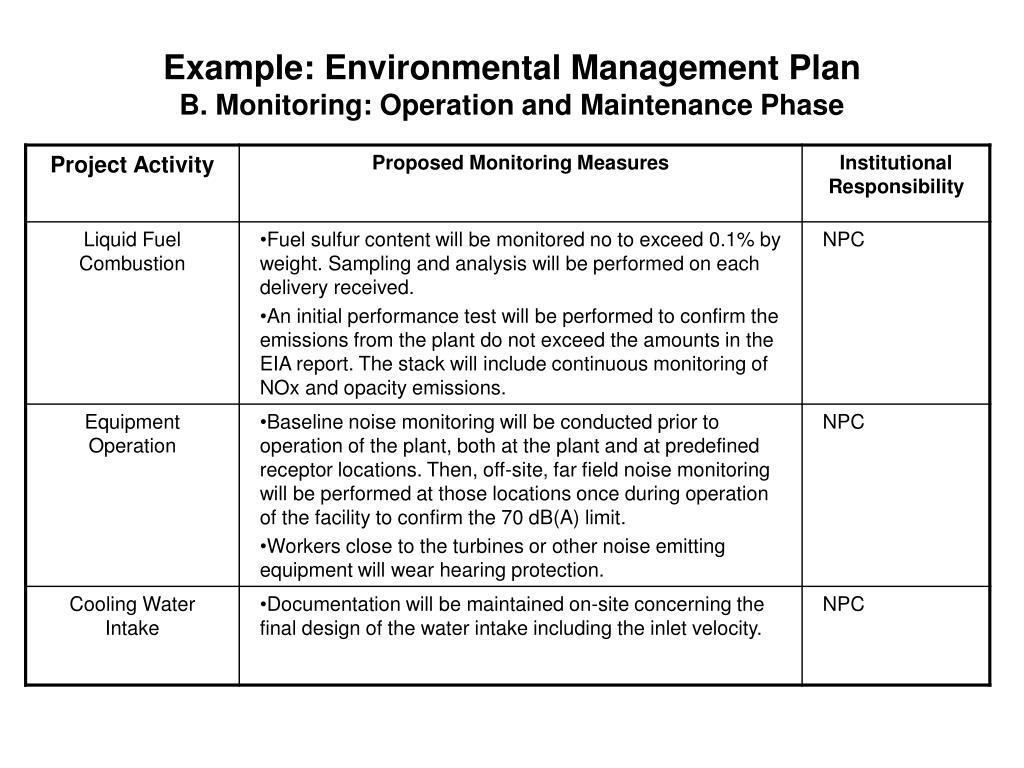 Example: Environmental Management Plan