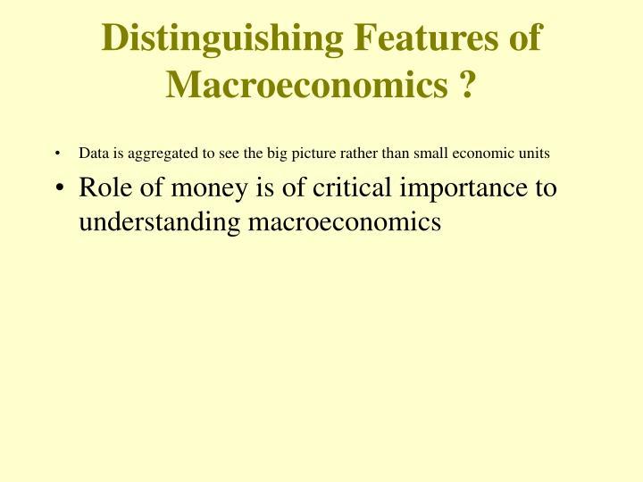 Distinguishing Features of Macroeconomics ?