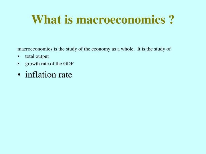 What is macroeconomics ?