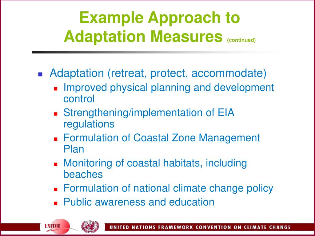 Example Approach to Adaptation Measures