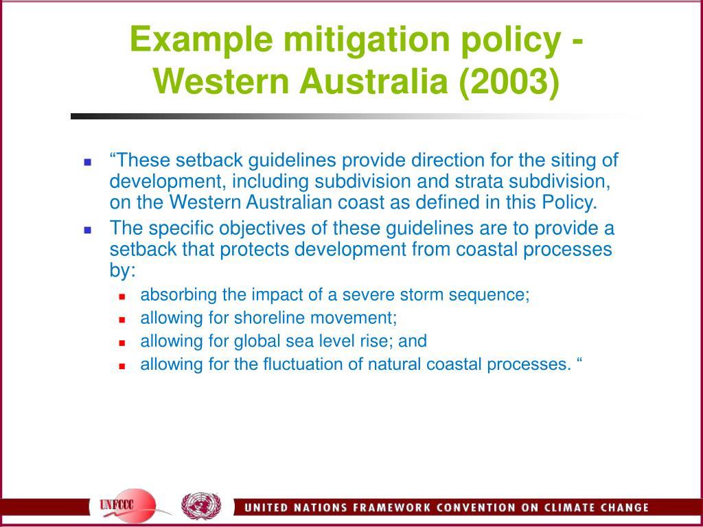 Example mitigation policy - Western Australia (2003)