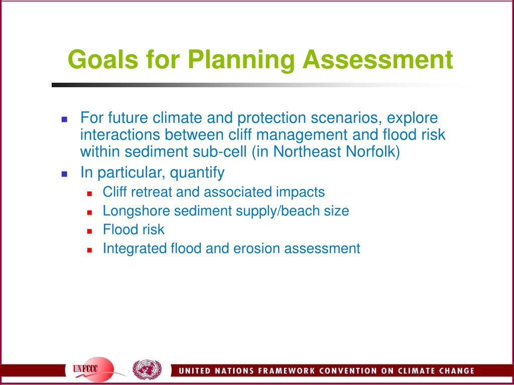 Goals for Planning Assessment