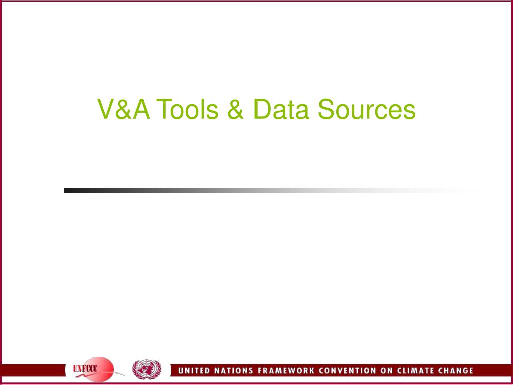 V&A Tools & Data Sources