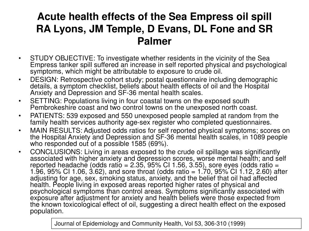 Acute health effects of the Sea Empress oil spill