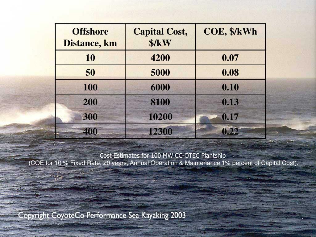 Cost Estimates for 100 MW CC-OTEC Plantship