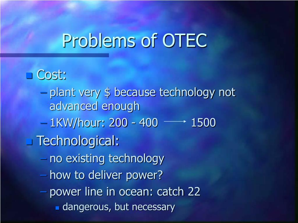 Problems of OTEC