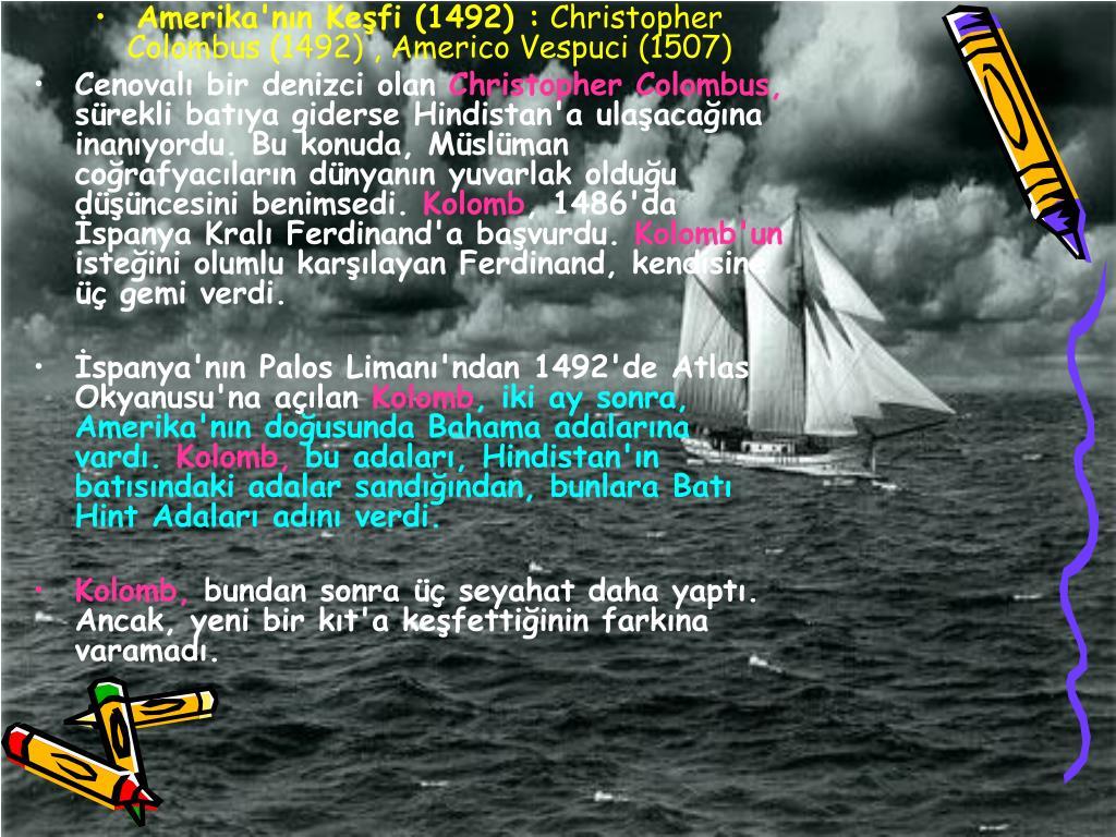 Amerika'nn Kefi (1492) :