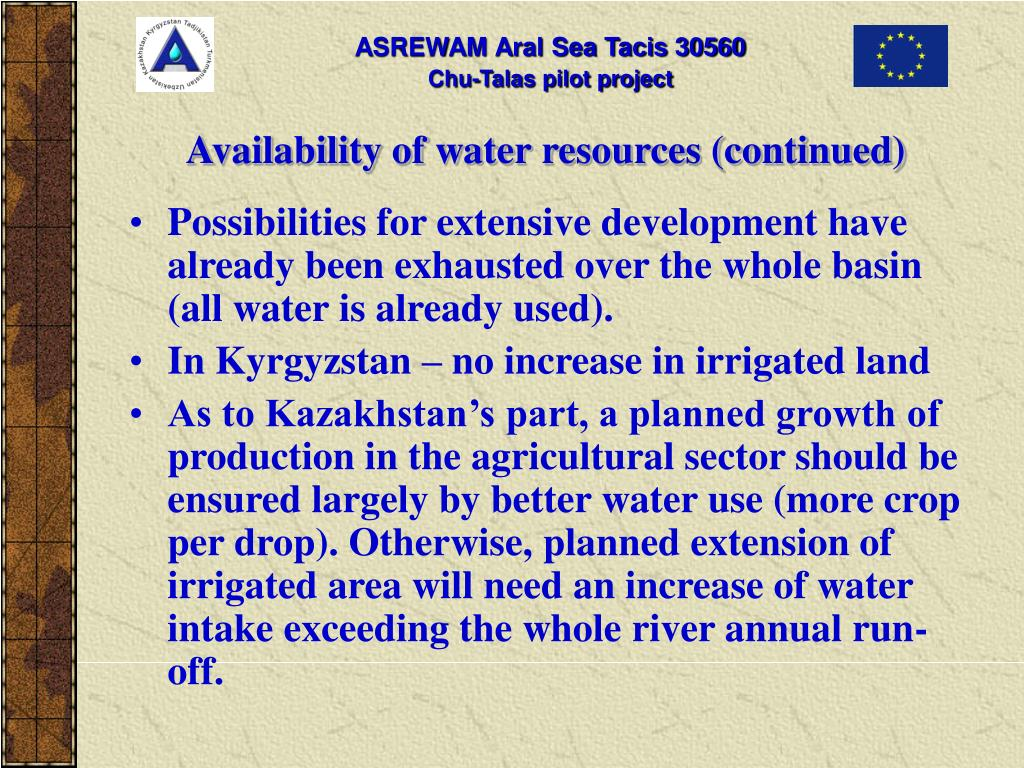 Availability of water resources (continued)