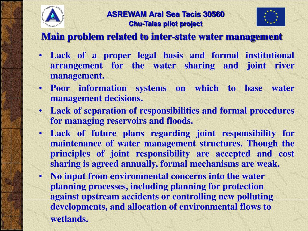 Main problem related to inter-state water management