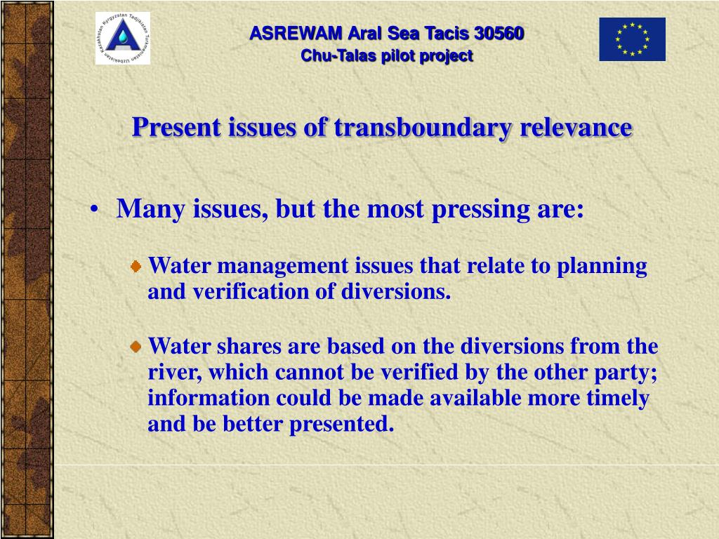 Present issues of transboundary relevance