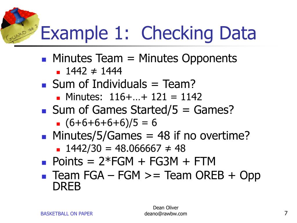 Example 1:  Checking Data