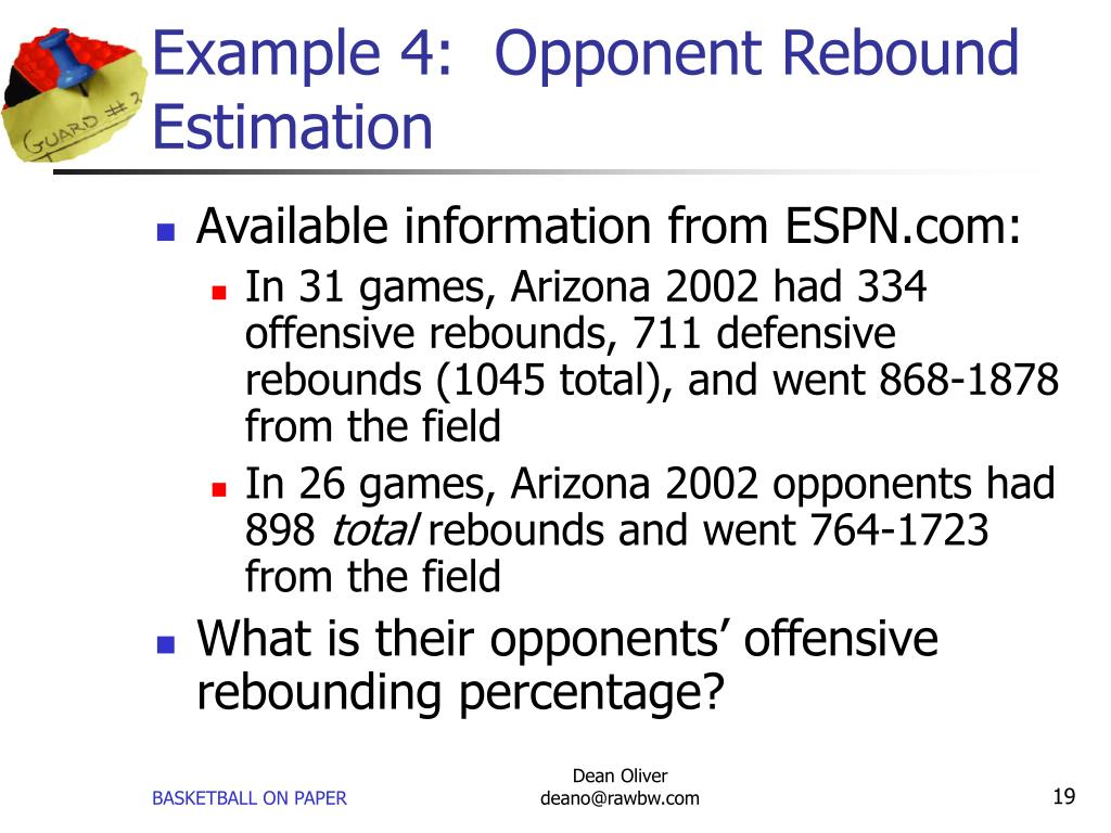 Example 4:  Opponent Rebound Estimation