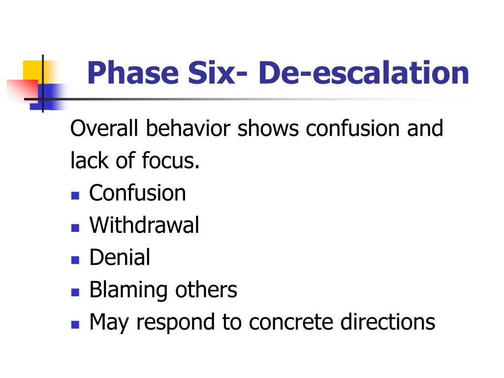 Phase Six- De-escalation