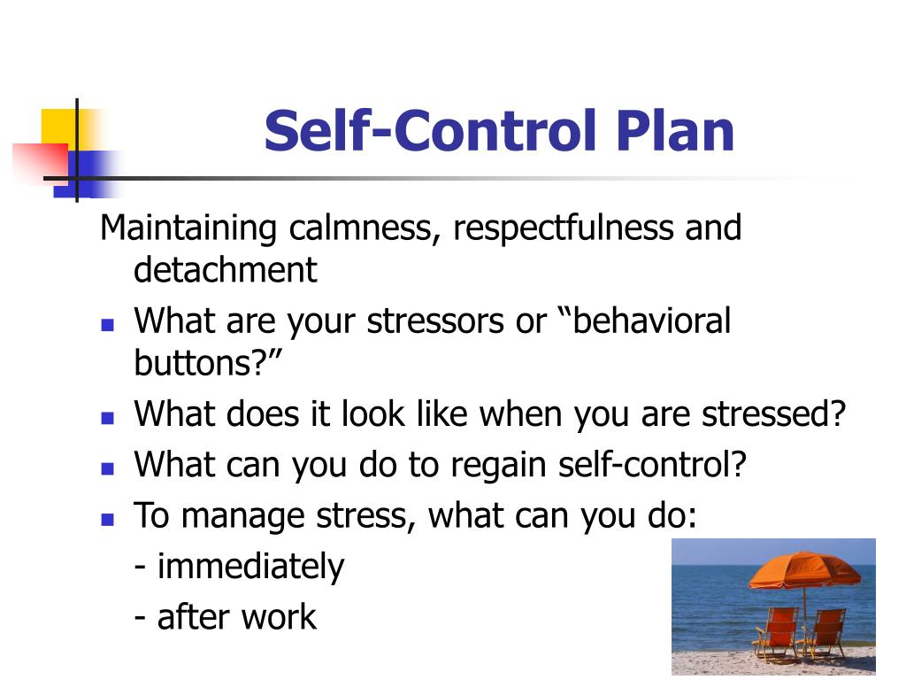 Self-Control Plan