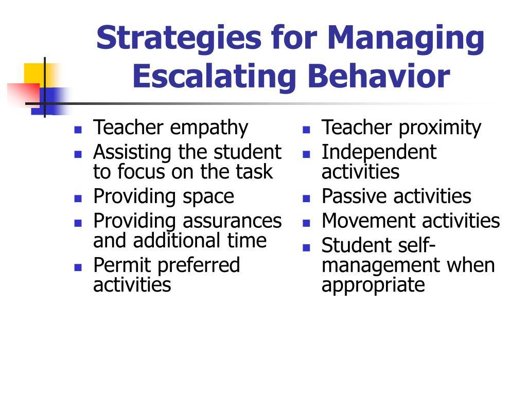 Strategies for Managing Escalating Behavior