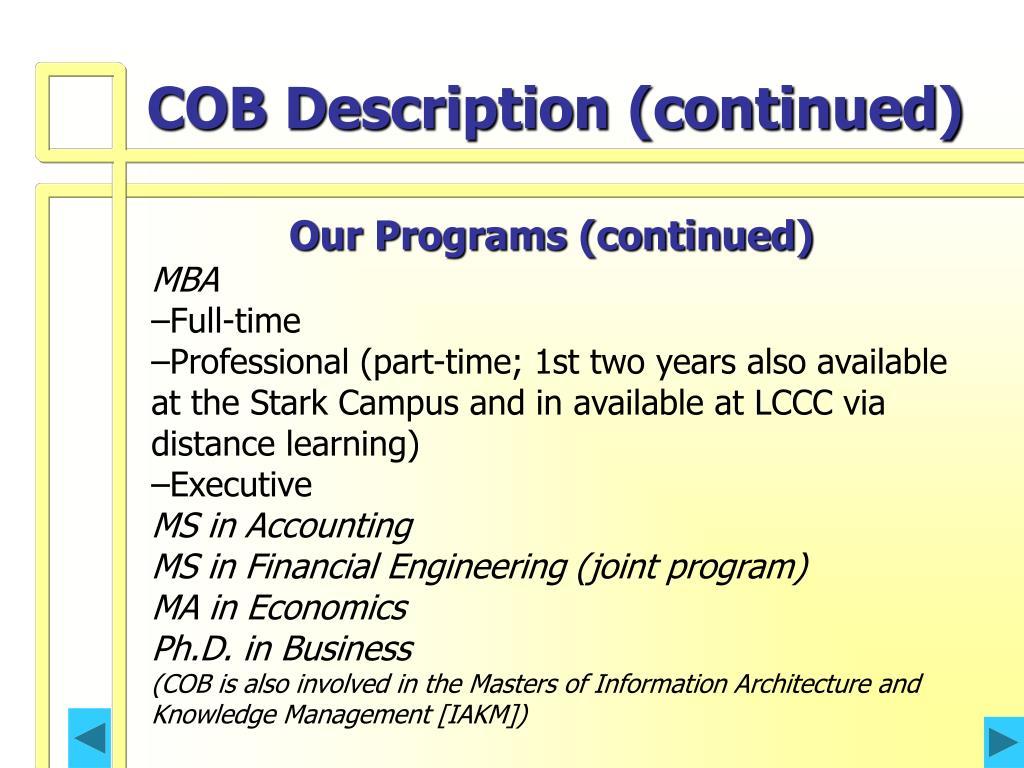 COB Description (continued)
