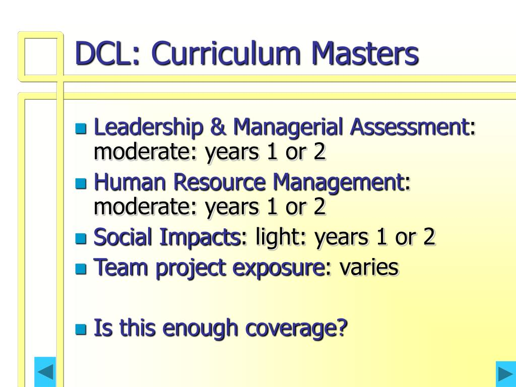 DCL: Curriculum Masters