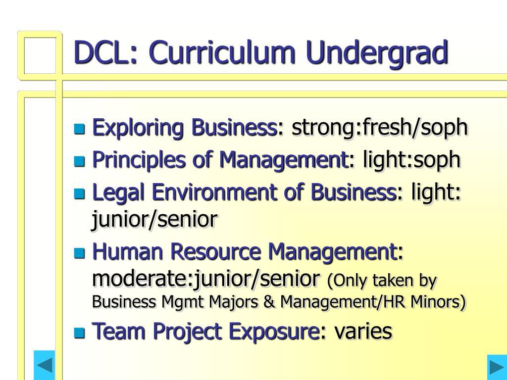 DCL: Curriculum Undergrad