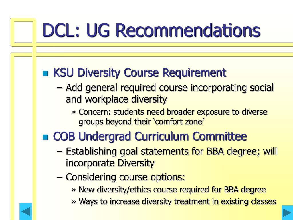 DCL: UG Recommendations