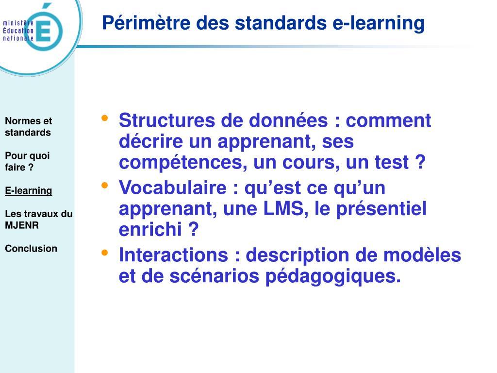 Structures de données : comment décrire un apprenant, ses compétences, un cours, un test ?