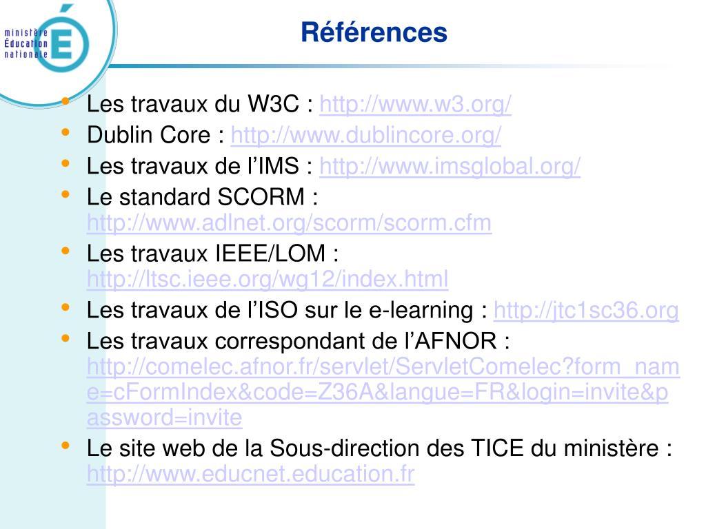 Les travaux du W3C :