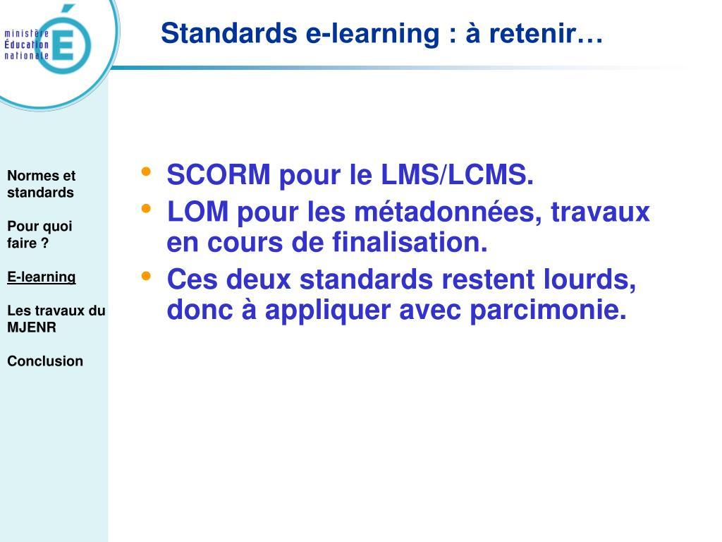 SCORM pour le LMS/LCMS.