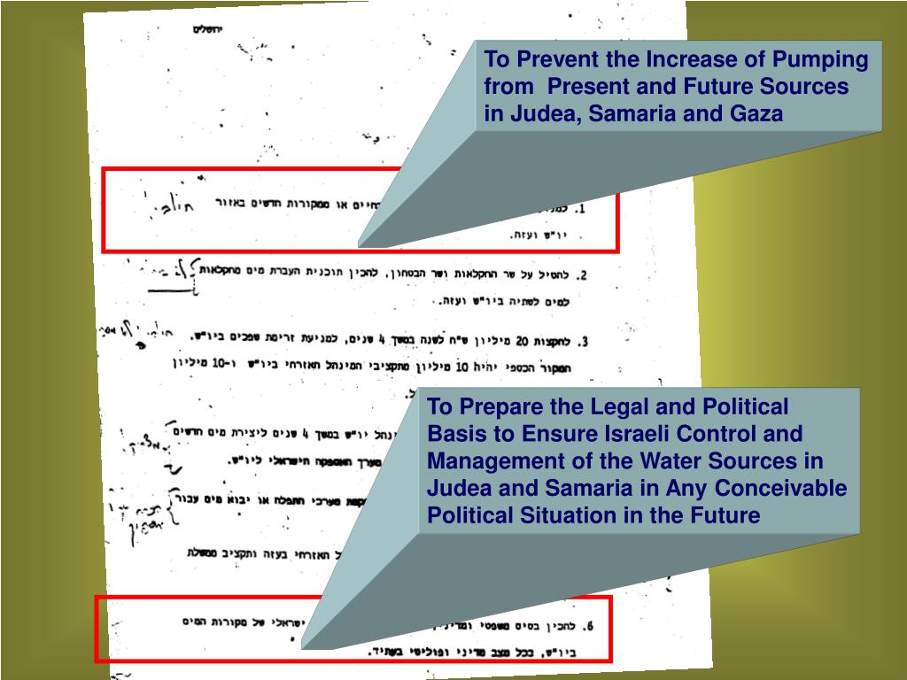 To Prevent the Increase of Pumping from  Present and Future Sources in Judea, Samaria and Gaza