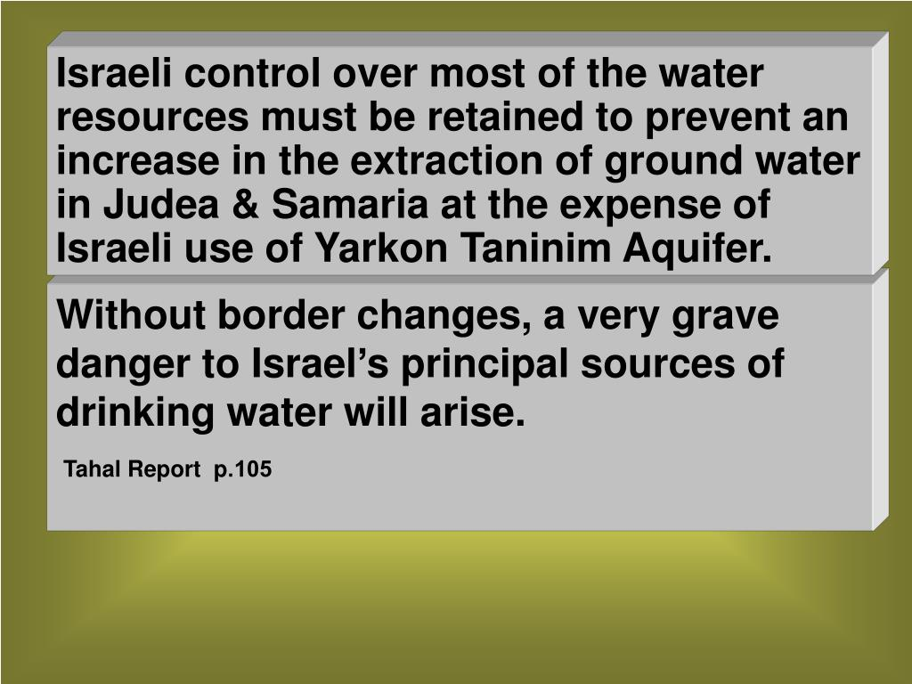 Without border changes, a very grave danger to Israel's principal sources of drinking water will arise.