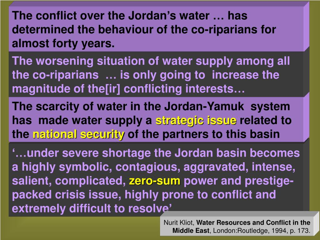 The conflict over the Jordan's water … has determined the behaviour of the co-riparians for almost forty years.