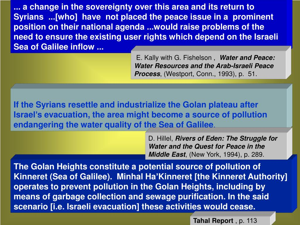 ... a change in the sovereignty over this area and its return to Syrians  ...[who]  have  not placed the peace issue in a  prominent position on their national agenda ...would raise problems of the need to ensure the existing user rights which depend on the Israeli Sea of Galilee inflow ...