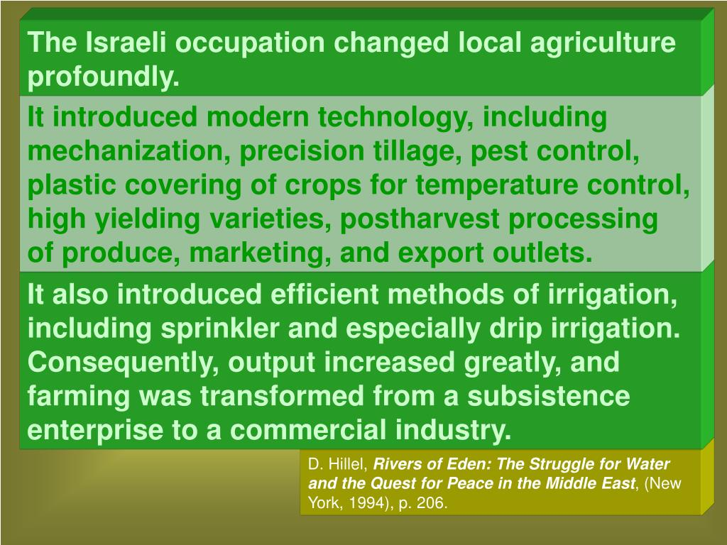 The Israeli occupation changed local agriculture profoundly.