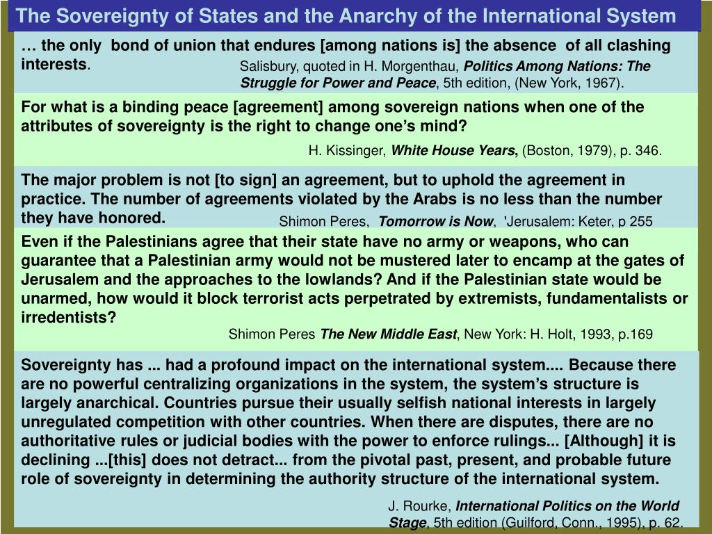 The Sovereignty of States and the Anarchy of the International System