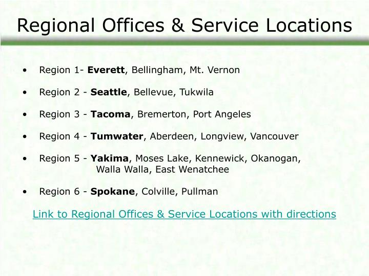 Regional Offices & Service Locations