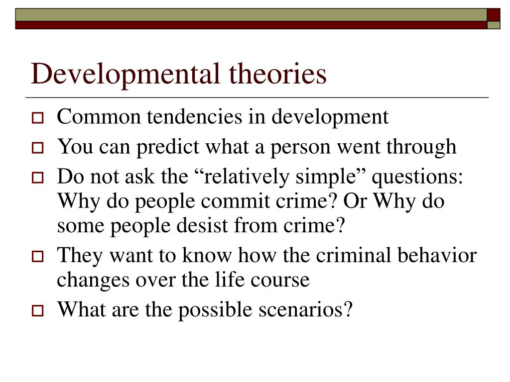 developmental theories There are many types of developmental theories first being the psychoanalytic theory, and the cognitive theory within these two types of theories there are several.