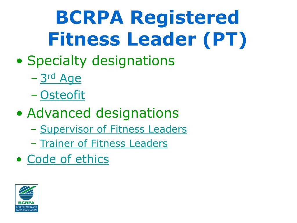 BCRPA Registered Fitness Leader (PT)